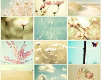 Summer decor, pastel colors, aqua, beige, nursery decor, pink, nature, beach photography, dreamy, baby blue, print set
