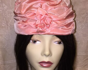 Vintage Mid Century Women's Turban Cloche Fascinator Hat Pink Taffeta 1950s 1960s