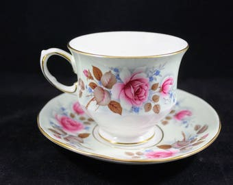 Vintage Queen Anne England Bone China Pattern no. 8550 teacup and saucer Pink Rose Floral, Blue forget-me-knots, Ridgeway Potteries Ltd.