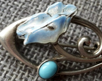 This is a beautiful Charles Horner antique sterling silver turquoise and enamel pin brooch