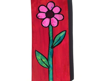 Pink Flower Painting - Red Original Mixed Media Collage Painting - floral still life, daisy flower art, wall art decor - Claudine Intner