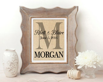 Personalized Wedding Gift | Engagement Gift | Personalized Gift for Couple | Monogrammed Gift for Wedding | Gift for Bride | Burlap Print