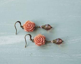Earrings, dusty pink resin flower dangle earrings