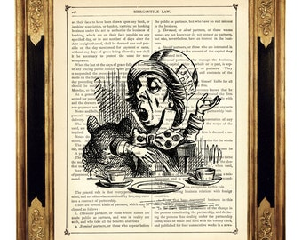 Alice in Wonderland Art Print Mad Hatter Poster b&w - Vintage Victorian Book Page Art Print Steampunk