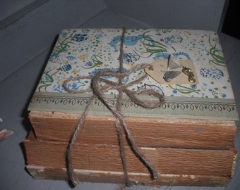 vintage tattered Book Stack Bundle ~ Sea Horse ~ Sea shell cover and Embellished tag ~ Beach Cottage FREE Shipping