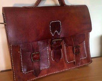 Handmade vintage leather Moroccan leather shoulder bag satchel/briefcase
