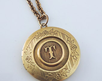 Locket Necklace - Initial T - Letter T - Vintage Brass Jewelry - Personalized Necklace - ALL LETTERS - handmade jewelry Personalized Jewelry