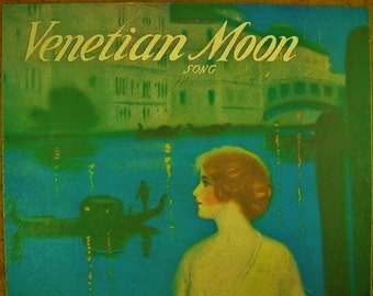 Sheet Music Venetian Moon Sheet Antique Vintage Manning Cover