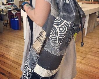 Fully lined YOGA mat bag, blacks/greys patchwork