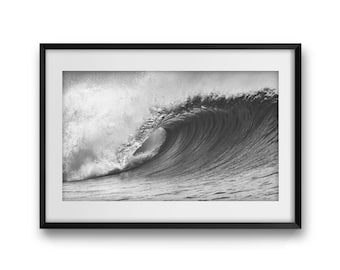 "Surf Art Print, Wave, Fine Art Photography,Wave Photography,Black & White, Nature Photography, Large Wall Art Print, Wall Decor, ""The Wave""."