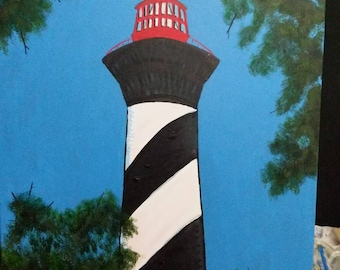 One of a kind Ooak Original fluorescent painting by Artsy Fartsy Lovers Lighthouse Saint Augustine Florida Modern Glow in the dark Acrylic
