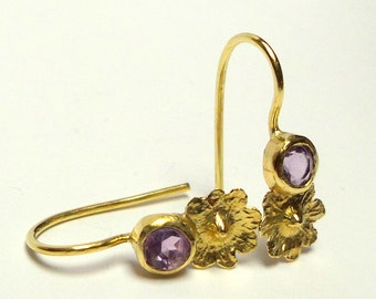 Loveliness Earrings - gold Earrings - Amethyst  gold earrings - Seeds Collection - Free Shipping!!