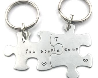 Puzzle Piece Keychain - You Complete Me - His and Hers Matching Keychains - Couples Wedding Gift - Hand Stamped Puzzle Pieces - Gift for Her