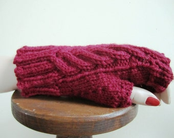 Mens Fingerless Gloves Mitts Hand Knit Wool Civil War Victorian Cable - Size Small