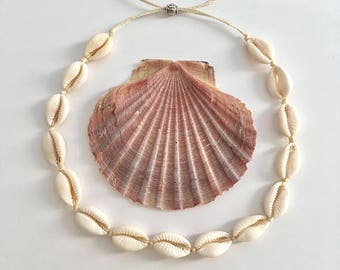 cowrie shell choker, mermaid necklace, beach jewelry