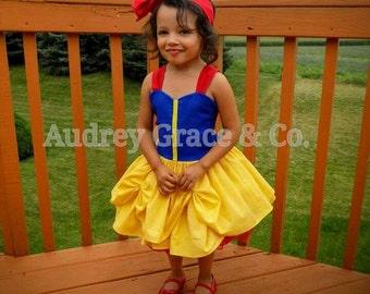 Girls Snow White Costume, Girls Princess Halloween Costume, Fancy Princess Dress, Girl Birthday Party Dress, Princess Play Dress, Baby Dress