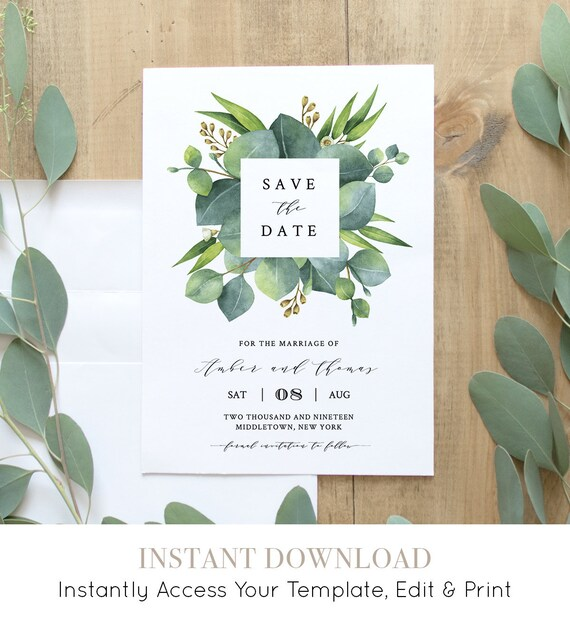 Save the Date Template, INSTANT DOWNLOAD, 100% Editable, Printable Wedding Date Announcement, Greenery Eucalyptus, DIY, 5x7, 4x6 #036-114SD