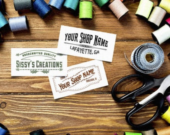 "Vintage Design Custom Fabric Label • Sew-on  Iron-on • 80 Labels at 2 x 1"" • Name Added • Colorfast 100% Cotton •  Black or Colors   • Uncut"