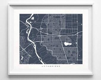 Lethbridge Map, Canada Print, Lethbridge Poster, Canadian Art, Giclee, Valentines Decor, Valentines Decorations, Dorm Wall Decor, Valentines