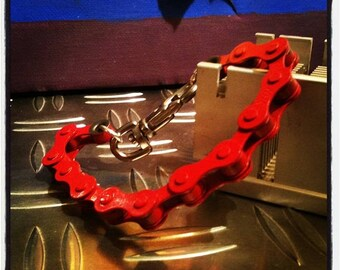 Red bicycle chain bracelet and other colors