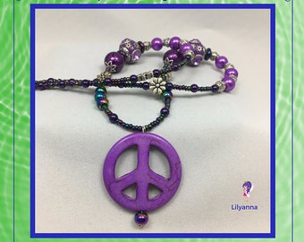Purple Peace Sign Necklace / One of a Kind / Unique Gift Ideas / Bohemian Necklace / Beaded Hippie Necklace