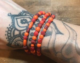 Warm Red Orange Wrap Necklace Bracelet