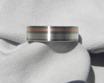 Titanium, Silver and Copper Inlay Ring, Wedding Band, Brushed Finish