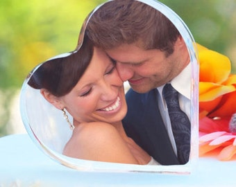 Heart Shaped Photo Toppers Holds 2 Photos Wedding Cake Baking Supplies