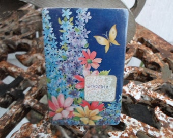 Vintage 1970s Colorful NOS Flowers and Butterfly Blue/Pink/Purple Full Deck Playing Cards NIP Pinochle
