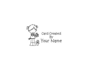 Handle Mounted or Cling Personalized Name custom made rubber stamps C53