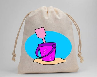 Beach, Beach Party, Birthday Party, Party Bags, Favor Bags, Muslin Bags, Treat Bags, Goodie Bags, Drawstring Bags, 5x7, Set of 5