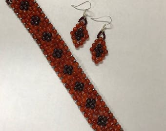 Amber and Dark Red Bracelet and Earring Set