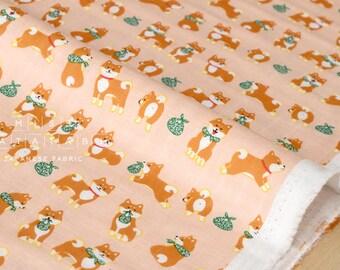 Japanese Fabric Shiba inu double gauze - peach - 50cm