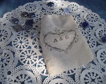 Favor Bags - SET OF 10 Vintage Heart Personalized 4x6 Muslin Favor Bags Gift Bags or Candy Bags - Item 1351