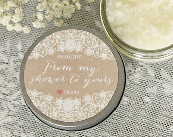 From My Shower To Yours / Burlap & Lace Bridal Shower / Set of 12 - 4 oz Sugar Scrub  Favors / Sugar Scrub Favor / Rustic Wedding Favor