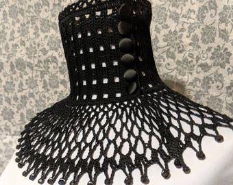 Black Lace Crochet Choker Victorian Mourning Steampunk Gothic Victorian Noir