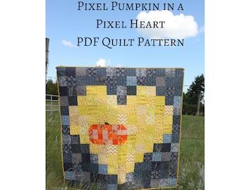 Fall Quilt Pattern, Easy Autumn Quilt, Pixel Pumpkin in a Pixel Heart PDF Quilt Pattern, Beginner friendly quilt, charm square quilt
