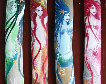 4 colorful Mermaids - Original Painting- Beach Decor- Cottage Chic-Mermaid FaNTASY aRT