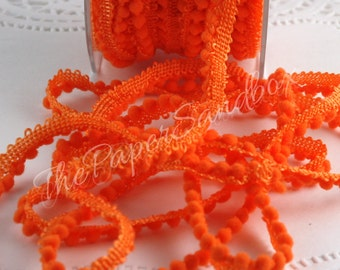 "Orange Mini Pom Pom Trim, 1/8"" Ribbon by the yard, Orange Pom Poms, Sewing, Halloween Ribbon, Gift Wrapping, Party Supplies, Party & Gifting"
