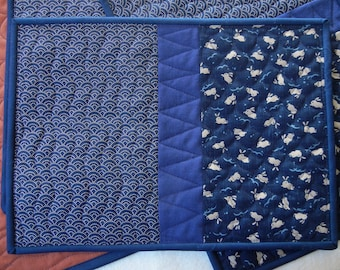 Quilted placemats - Navy scallops and rabbits - set of 4