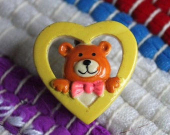 Vintage Heart & Bear Pin