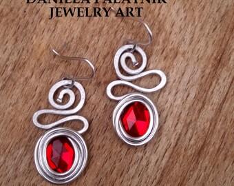 Red Beads Earrings, Wrapped Dangle Earrings, Lightweight Earrings, Spiral Earrings, Hypoallergenic Earrings, Bohemian Earrings, Hammered.