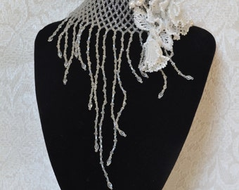 White Beaded Flower Jewelry Pearl and Crystal Choker Necklace Slave Bracelet Set of 2 Beach Wedding Jewelry Romantic Floral Artisan Jewelry