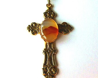 ORANGE AGATE Cabochon Cross, Goldtone Fleur di Lis Vintage Cross, Goldtone Cross Pendant & Neck Chain, Natural Stone Cabochon Cross Necklace