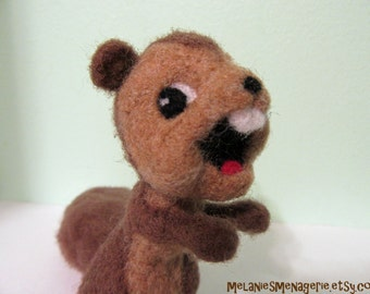 Running Squirrel Felted Soft Sculpture