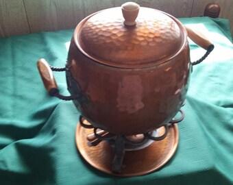 Hammered Copper Fondue Pot, Swiss Made Fabulous!