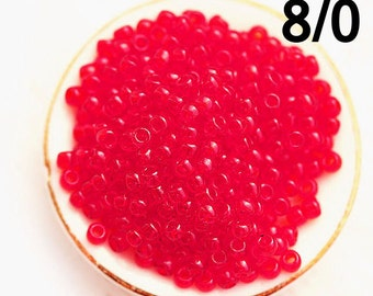 Red Seed beads TOHO size 8/0 Transparent Ruby N 5C rocailles red glass beads - 10g - S828