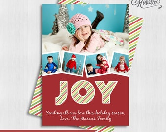 Multiple Photo Christmas Card - Joy Christmas Custom Photo Holiday Card