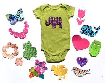 Baby Shower.Baby Shower Ironong Station. 13 Or 26 Piece Applique Sets Available.Girl.Fabric Iron On Appliques. Bonus- FREE Heart Appliques!