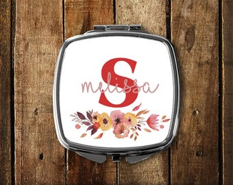 Personalized Mirror, Monogram Compact Mirror, Floral design gift, Stocking Stuffer, Custom Compact, Monogram Purse Mirror, Pocket Mirror